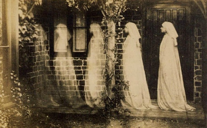 """The 1890 photograph""""The Ghost of Bernadette Soubirous,"""" by an anonymous artist, is an eerie example of a multiple exposure image used in creating so-called""""spirit photography."""" This turn-of-the-century obsession with capturing the unseen world was one that Strindberg shared."""