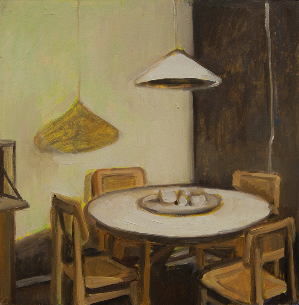 Gillian Willans White Light Dinette a o on board-12x12 Large