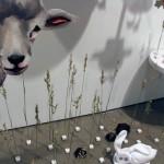 Prairie Scene (Oh Shucks) - Megan Gnanasihamany - wood, plaster, paper, wheat and mixed media