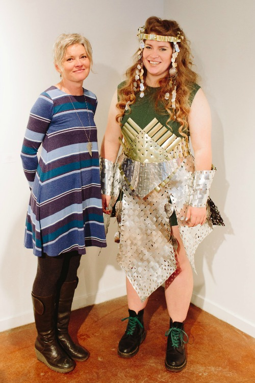 Jane Kline with her award-winning Skirt of Armour, modeled by Lore Green (