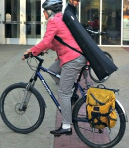 Edmonton musician bikes to the symphony. Photo supplied from C