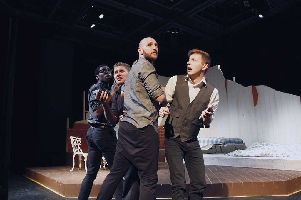 The papparazzi in Orestes 2.0 are played by (from left to right) Jordy Kieto, Franco Correa, Dale MacDonald and Bryan Lantz.